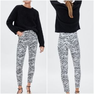 Zara, New Animal Print High Rise Black White Jeans